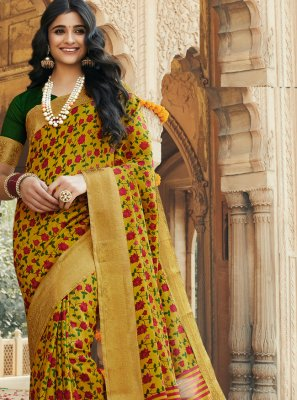 Printed Silk Multi Colour Contemporary Saree