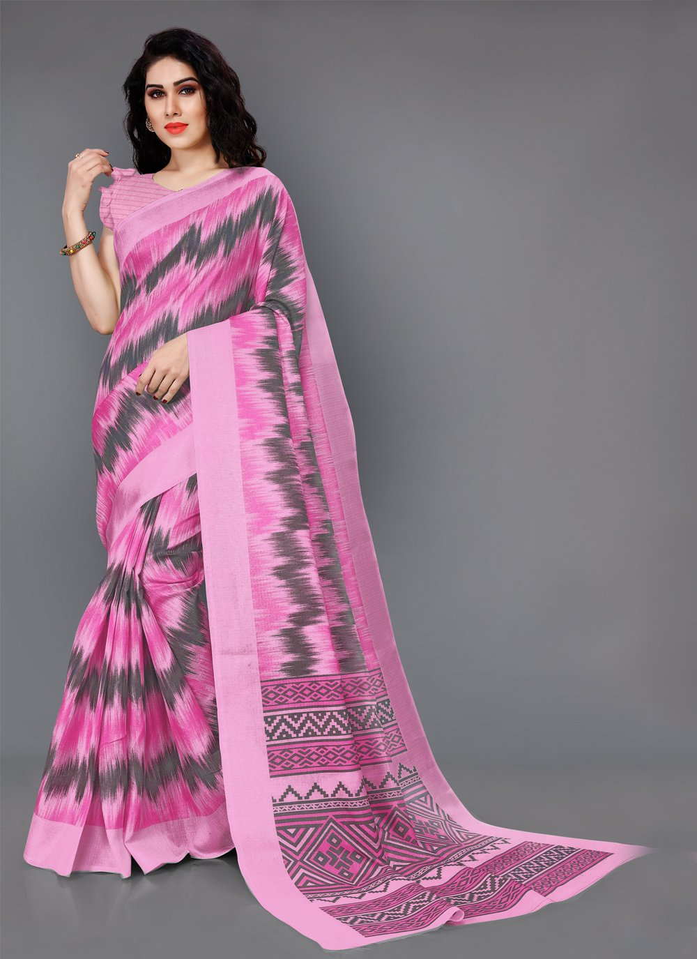 Printed Silk Pink Casual Saree