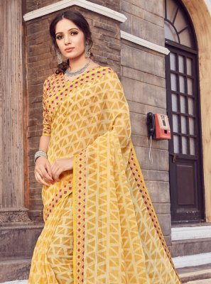 Printed Silk Yellow Trendy Saree