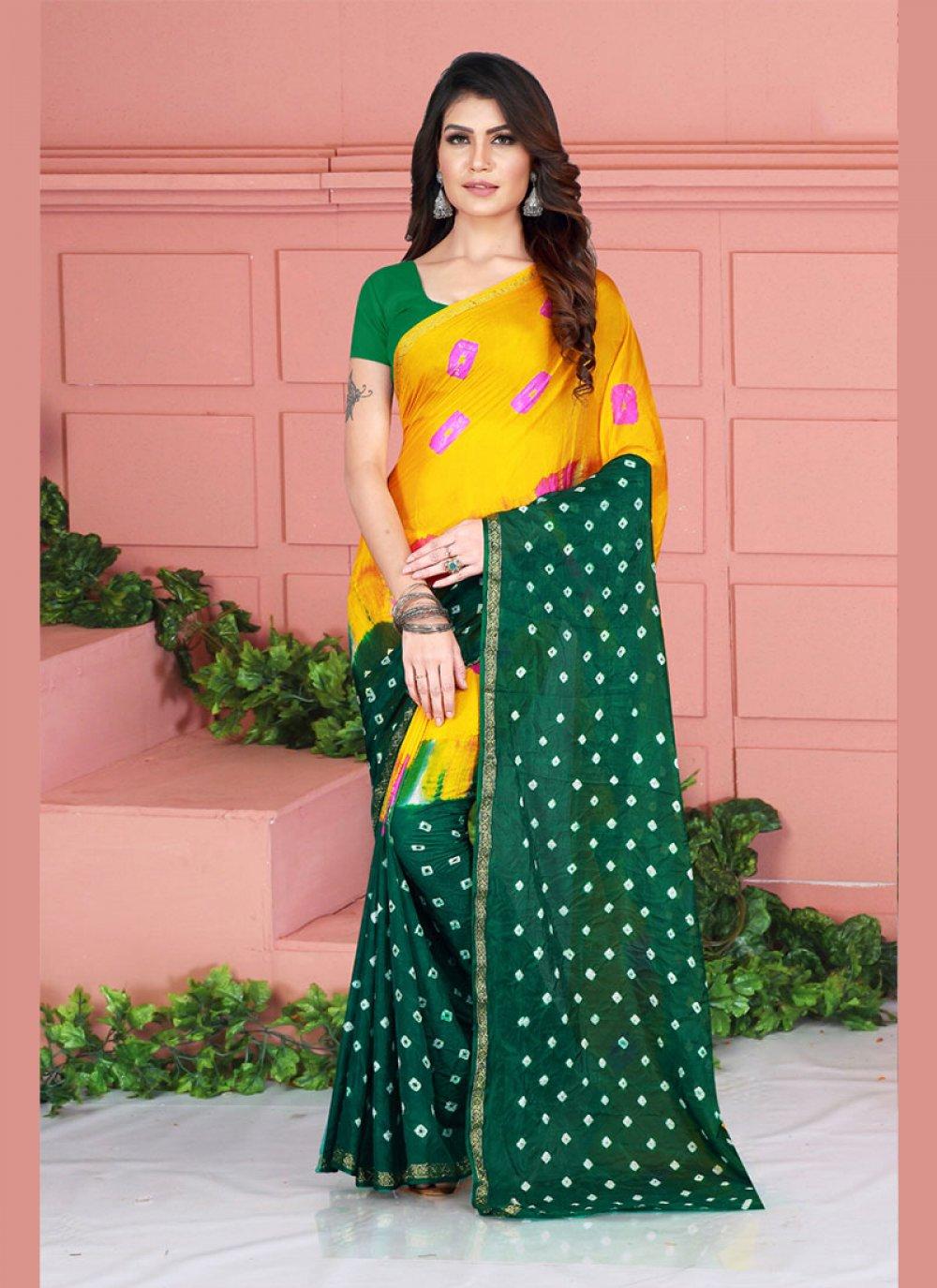 Printed Tafeta Silk Casual Saree in Green and Yellow