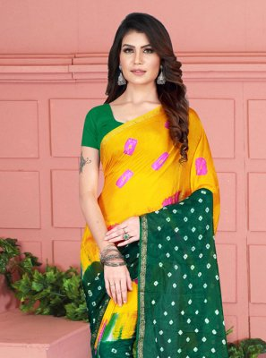 Printed Tafeta Silk Casual Saree in Green and Yellow
