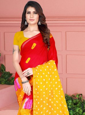 Printed Tafeta Silk Red and Yellow Printed Saree