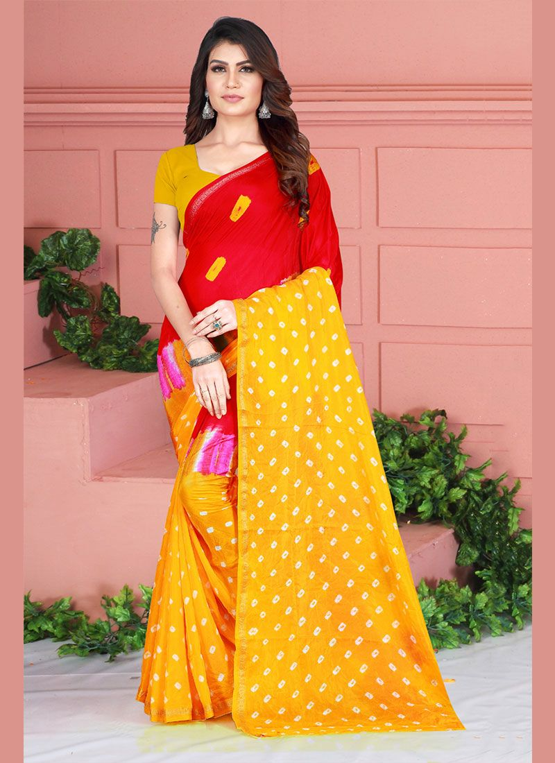 Printed Tafeta Silk Red and Yellow Printed Saree