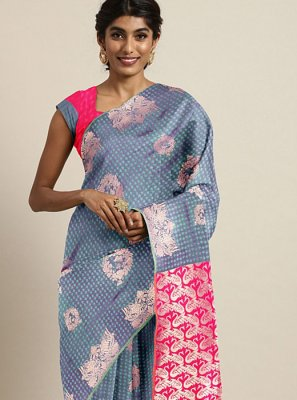 Printed Teal Art Silk Printed Saree