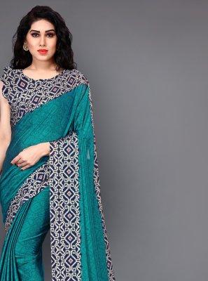 Printed Teal Silk Casual Saree