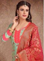 Printed Turquoise Banarasi Silk Trendy Churidar Salwar Kameez