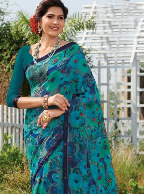 Printed Turquoise Georgette Traditional Saree