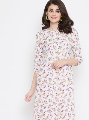 Printed White Cotton Casual Kurti