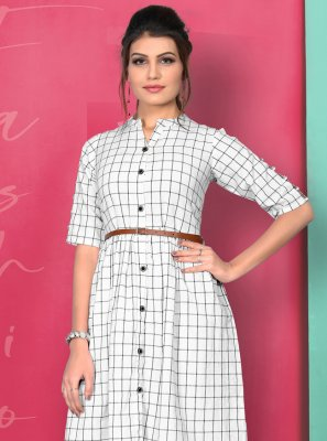 Printed White Cotton Party Wear Kurti