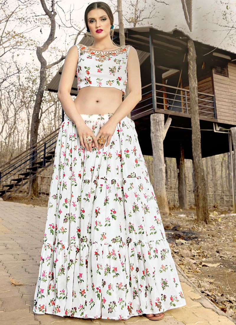 Printed White Trendy Lehenga Choli