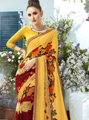 Printed Yellow Classic Saree