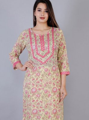 Printed Yellow Cotton Casual Kurti