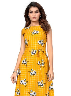 Printed Yellow Faux Crepe Casual Kurti