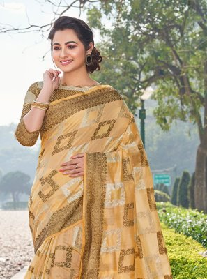 Printed Yellow Handloom Cotton Trendy Saree
