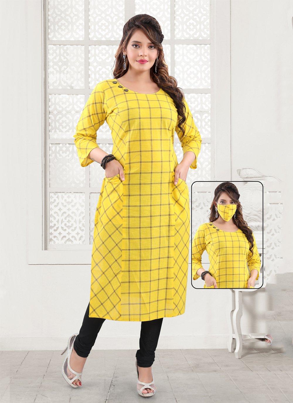 Printed Yellow Party Wear Kurti