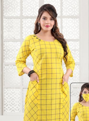 Printed Yellow Party Wear Kurti