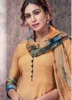 Printed Yellow Pashmina Designer Straight Suit