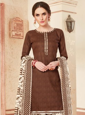 Punjabi Suit Abstract Print Cotton in Brown
