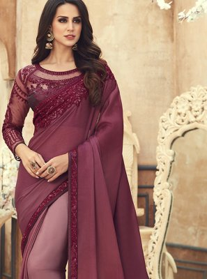 Pure Chiffon Brown Embroidered Saree
