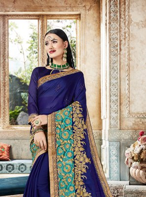 Pure Chiffon Designer Saree in Blue