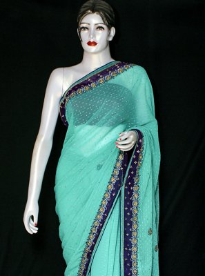 Pure Chiffon Embroidered Green Designer Saree