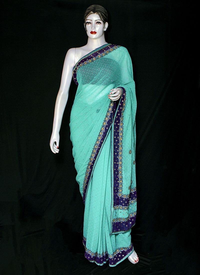 Pure Chiffon Embroidered Green Designer Saree