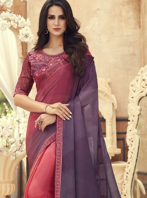 Pure Chiffon Embroidered Pink Saree