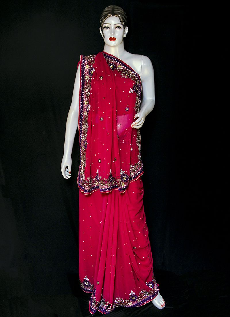 Pure Chiffon Embroidered Red Designer Saree
