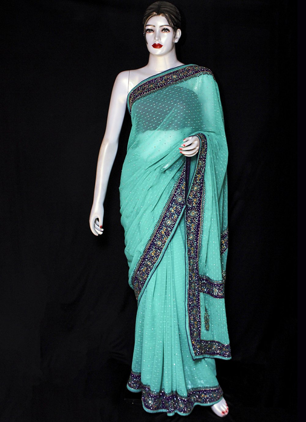 Pure Chiffon Green Designer Saree