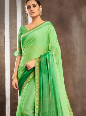 Pure Chiffon Lace Green Shaded Saree