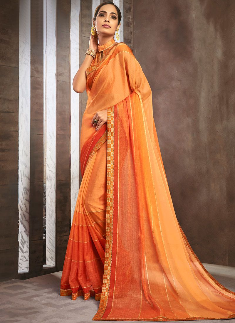 Pure Chiffon Lace Shaded Saree in Orange