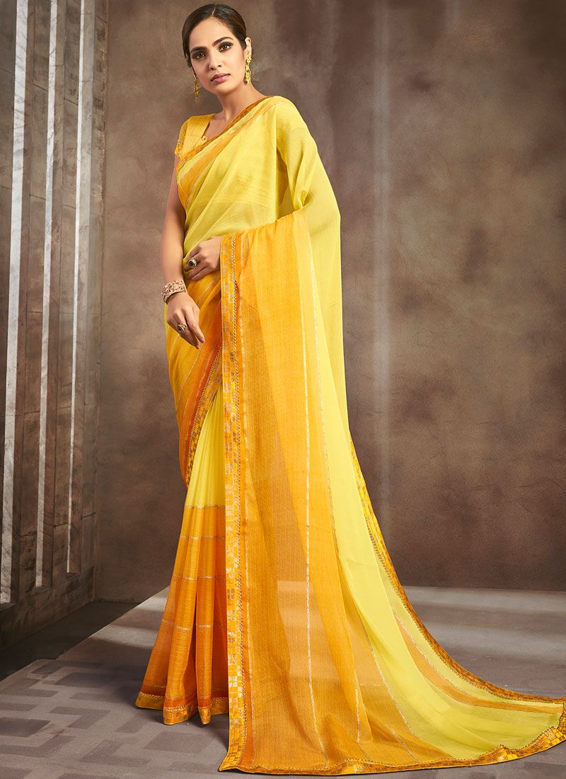Pure Chiffon Lace Yellow Shaded Saree