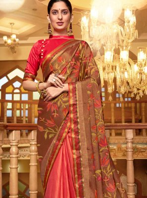 Pure Chiffon Multi Colour Printed Designer Traditional Saree