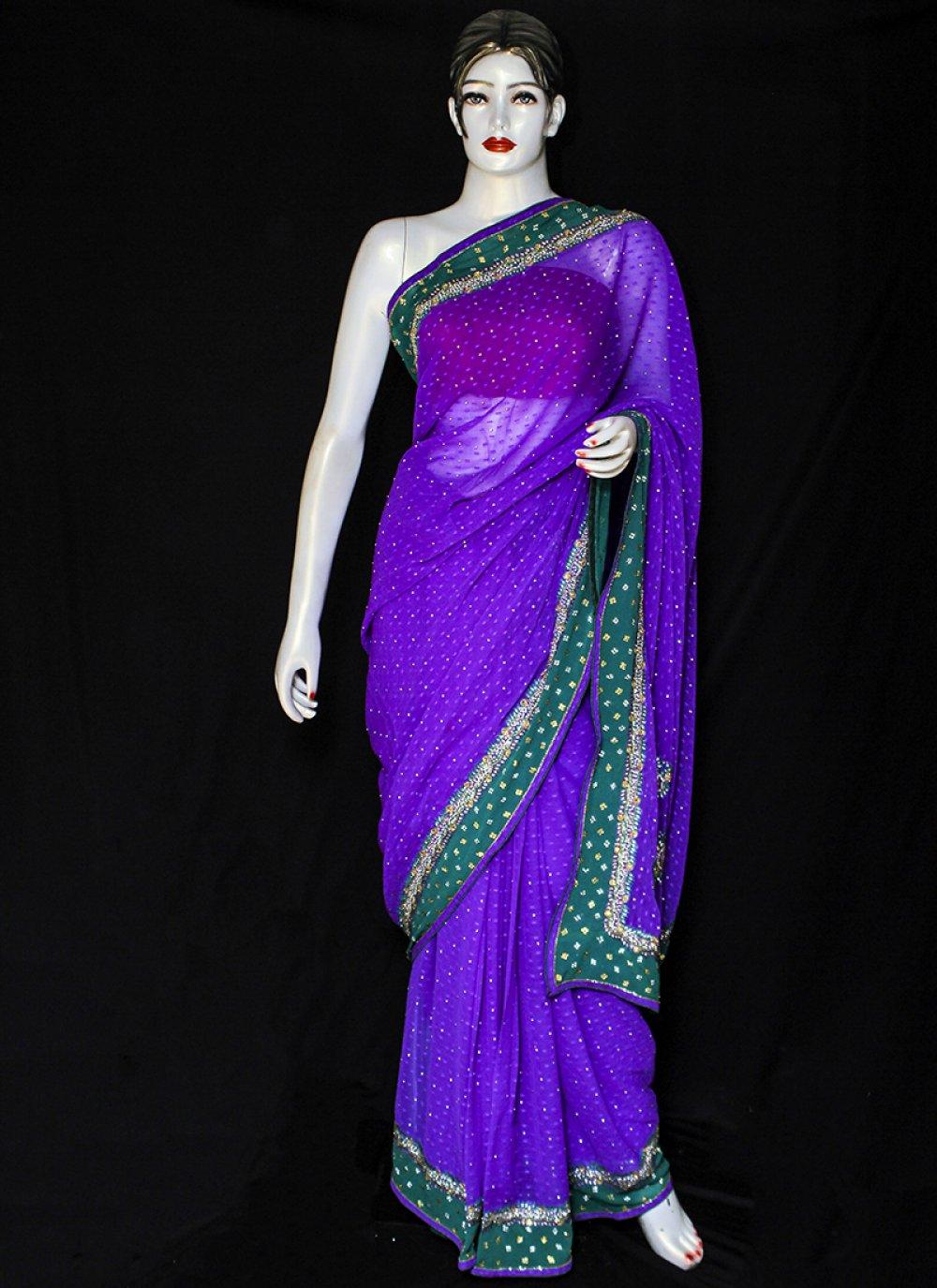 Pure Chiffon Purple Embroidered Designer Saree