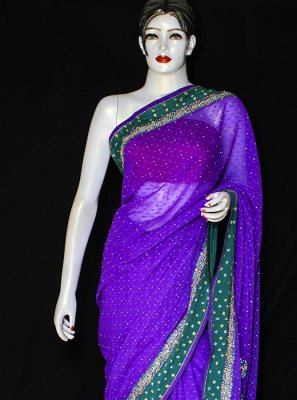 Pure Chiffon Purple Embroidered Designer Saree