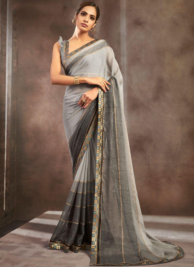 Pure Chiffon Shaded Saree in Black and Grey