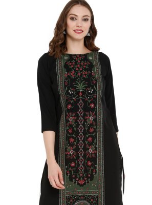 Pure Crepe Party Wear Kurti in Black