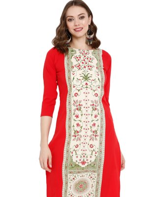Pure Crepe Red Printed Party Wear Kurti