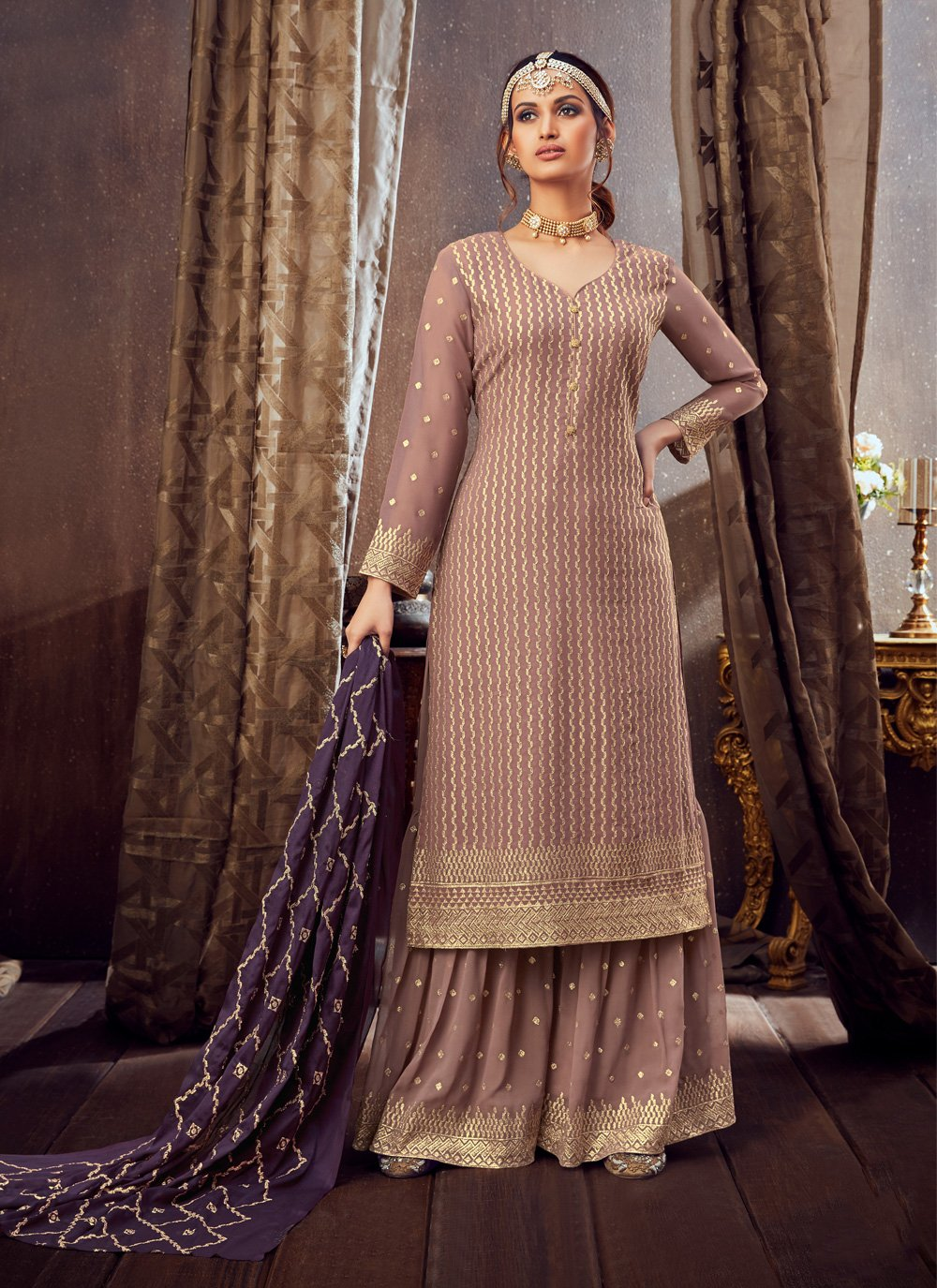 Pure Georgette Embroidered Pink Trendy Palazzo Salwar Suit