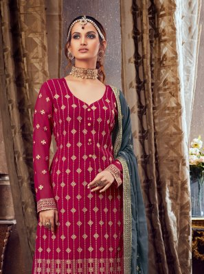 Pure Georgette Pink Embroidered Palazzo Salwar Suit