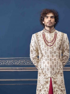 Pure Silk Cream Sherwani