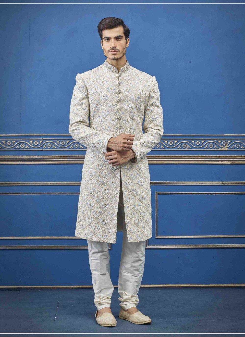 Pure Silk Embroidered Cream Sherwani