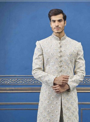 Pure Silk Embroidered Cream Sherwani