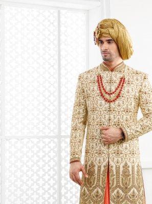 Pure Silk Embroidered Gold Sherwani