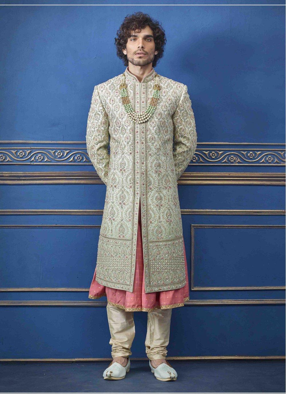 Pure Silk Embroidered Green Sherwani