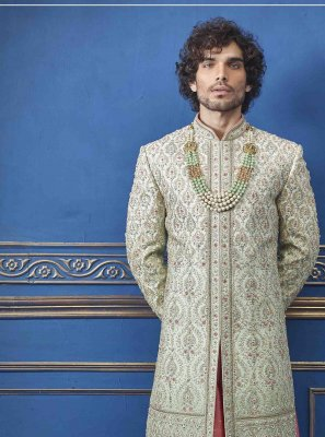 Pure Silk Embroidered Green Sherwani