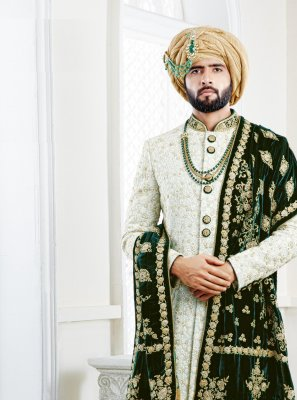 Pure Silk Embroidered Sherwani in Blue