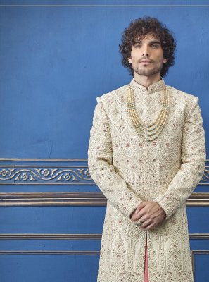 Pure Silk Embroidered Sherwani in Gold