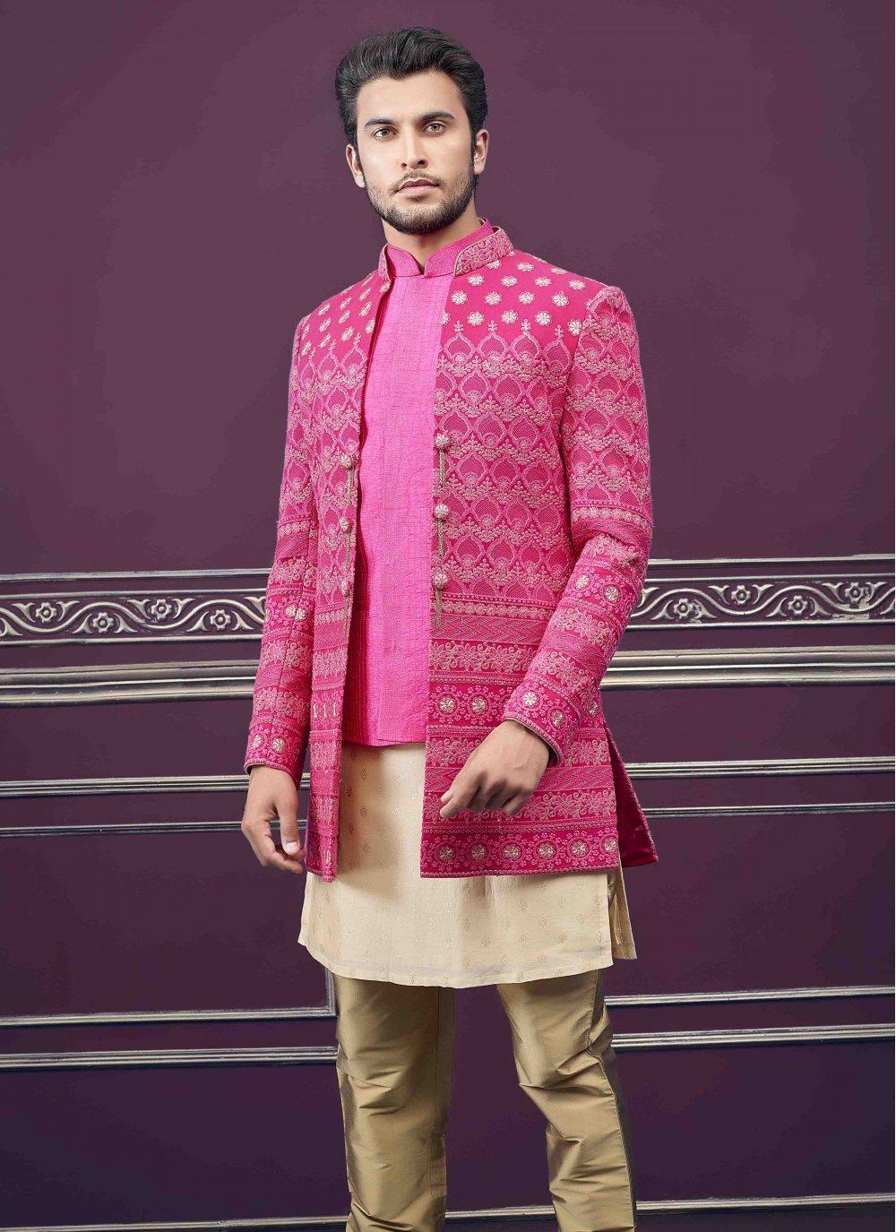 Pure Silk Embroidered Sherwani in Rani