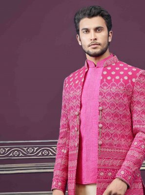 Pure Silk Embroidered Sherwani in Rani